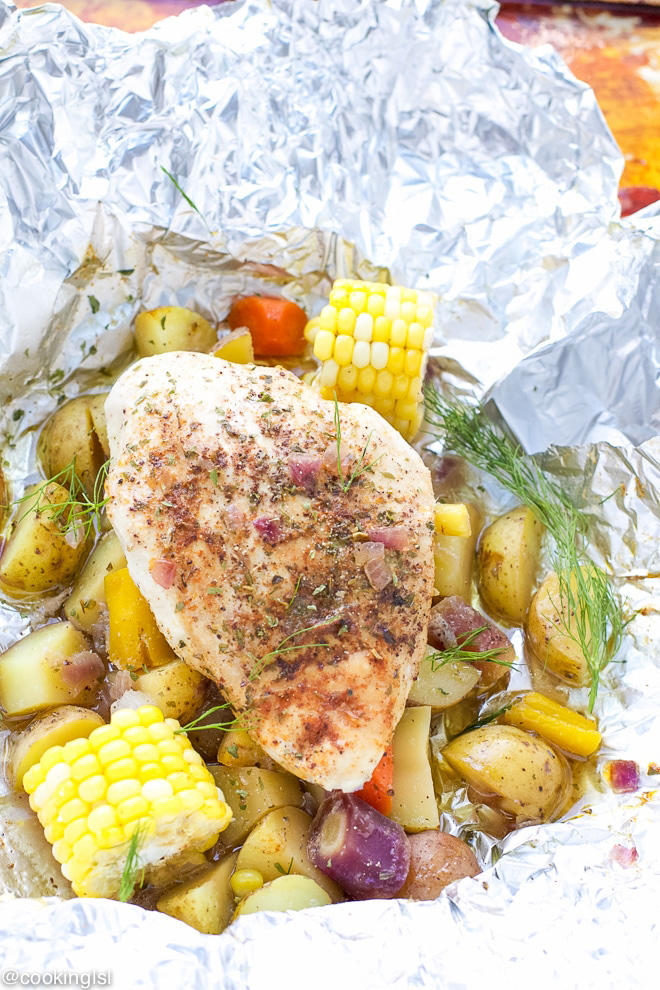 Grilled Chicken and Potatoes in Foil
