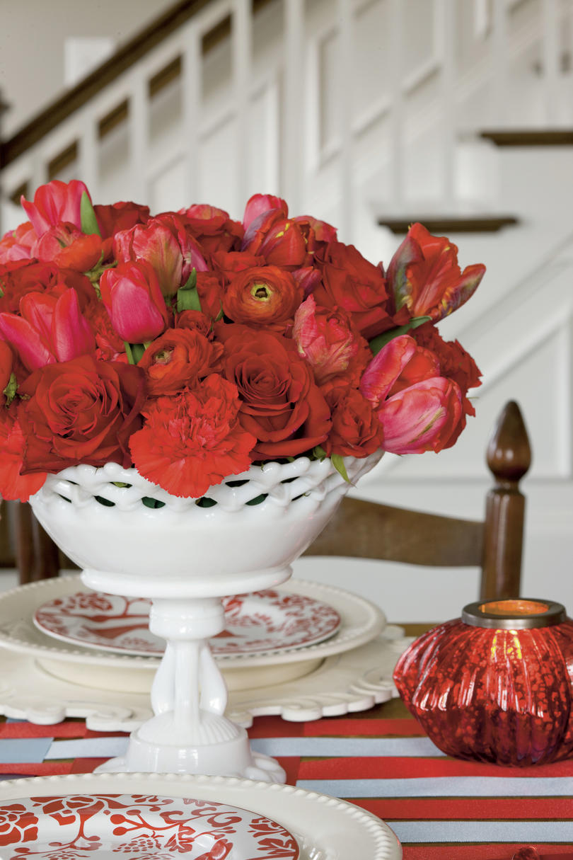Red Rose and Tulip Christmas Centerpiece in Milk Glass Vessel