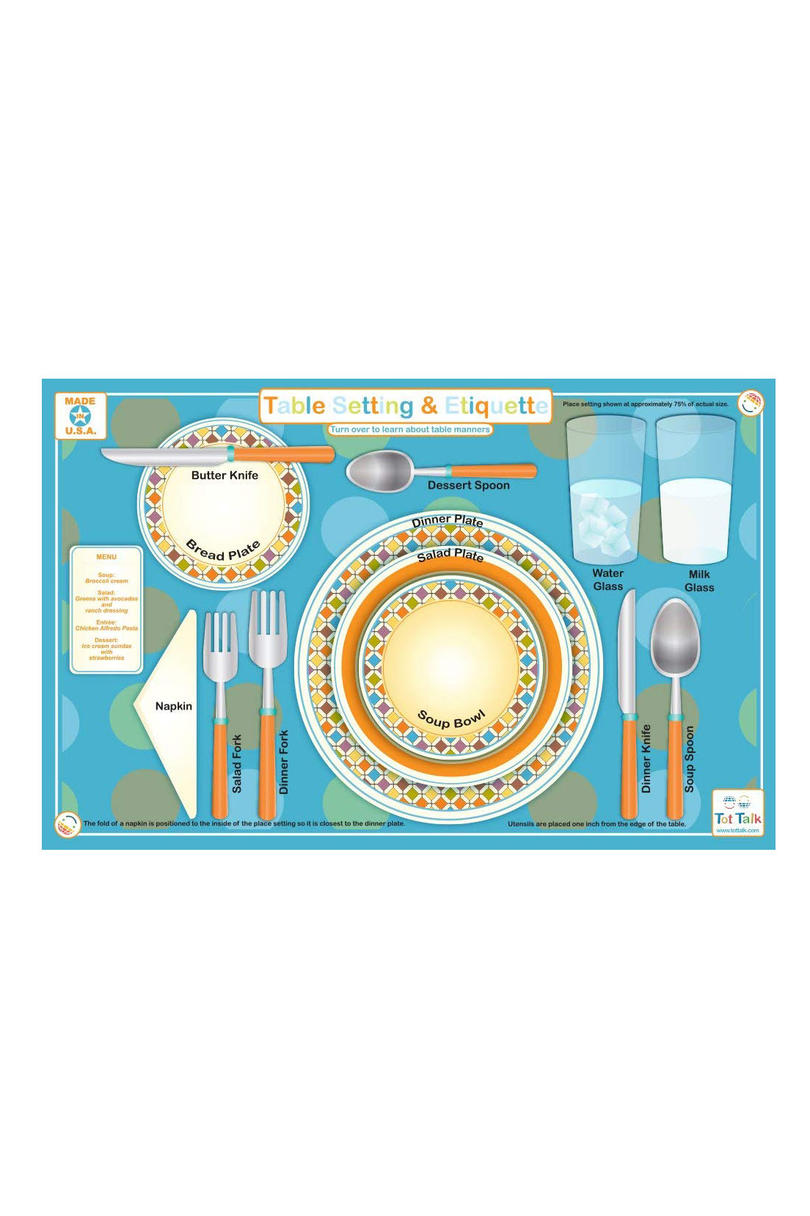 Table Setting and Etiquette Placemat for Kids