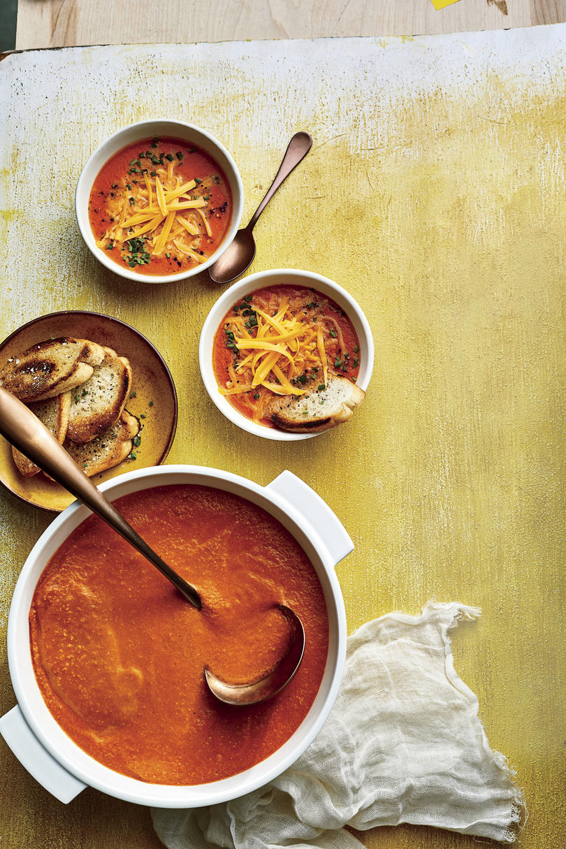 Roasted Tomato Soup with Cheddar Cheese