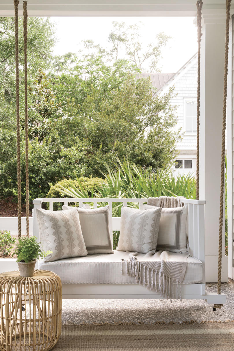 Lowcountry Farmhouse House Plan Front Porch Swing