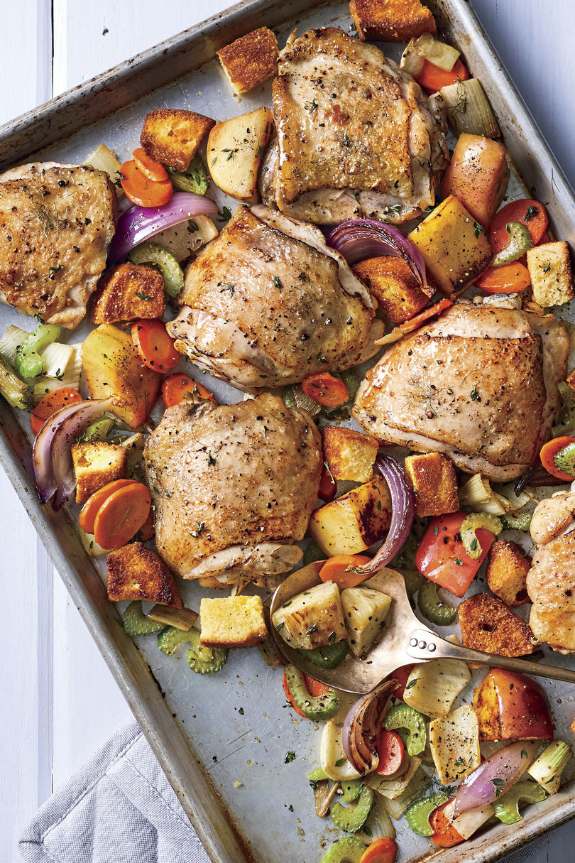 Sheet Pan Chicken with Dressing