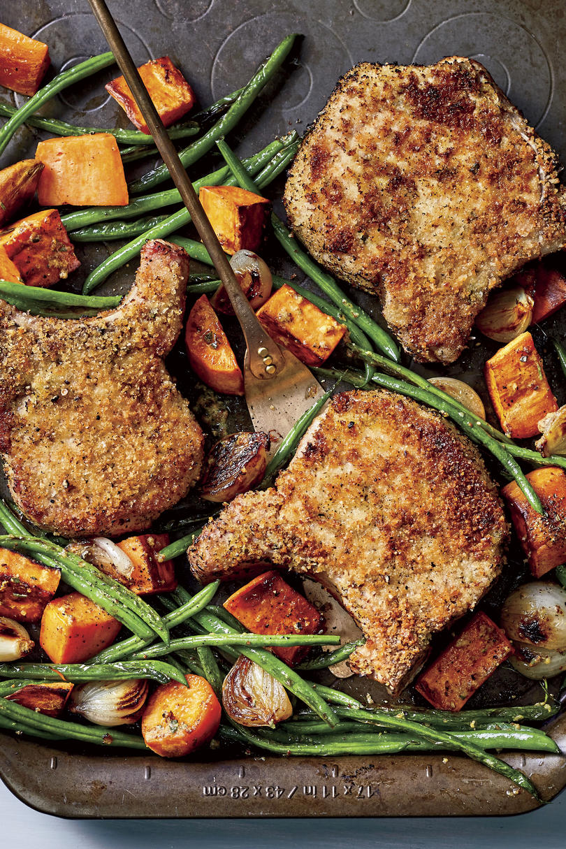 Oven-Fried Pork Chops with Sweet Potatoes and Green Beans