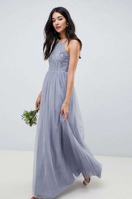 ASOS Design Delicate Embellished Strappy Maxi Dress