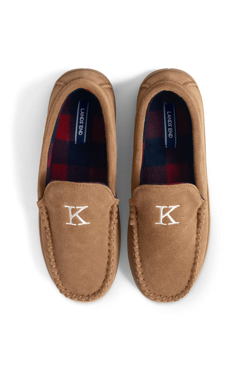 Fleece Lined Suede Moccasin Slippers