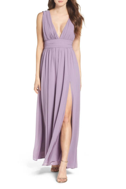 Plunging V-Neck Chiffon Gown