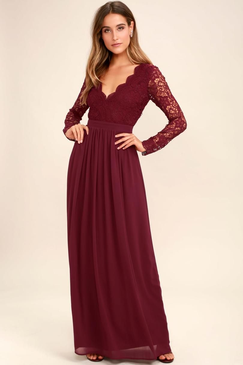 Long Lace Dresses With Sleeves