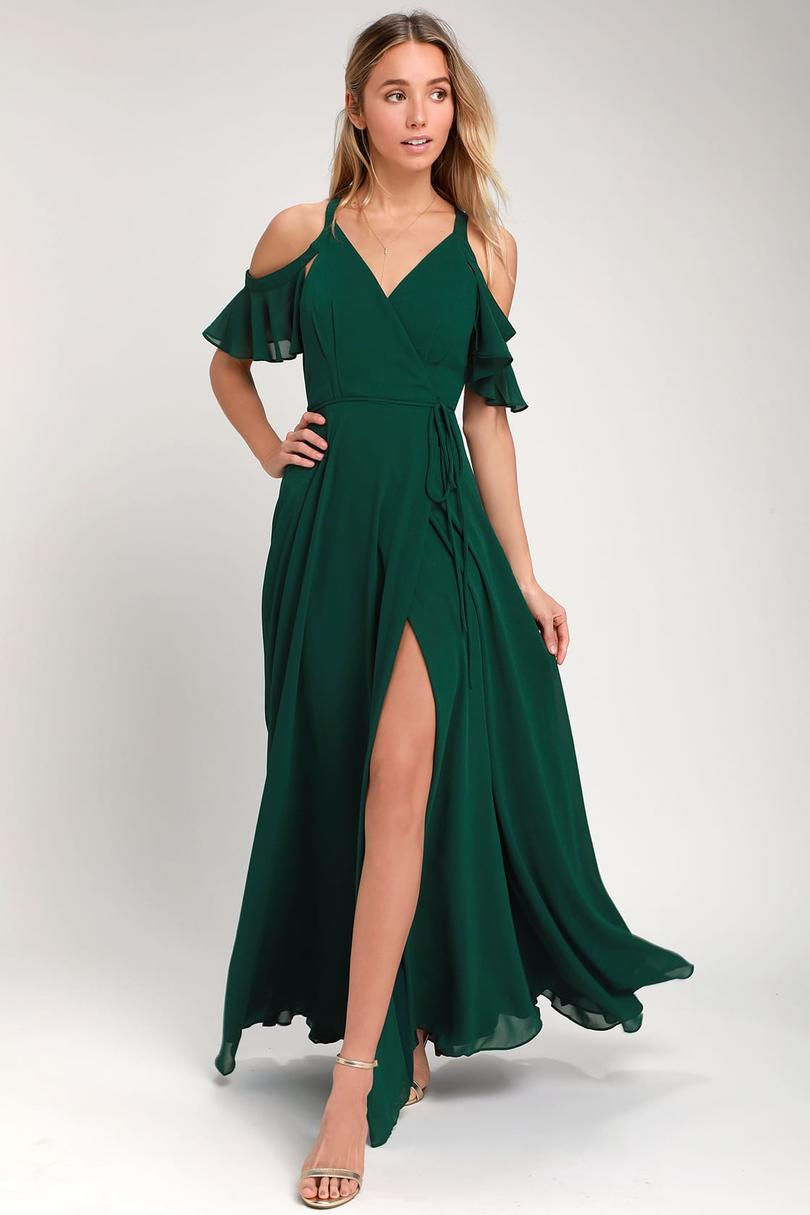 Lulu's Easy Listening Off-the-Shoulder Wrap Maxi Dress