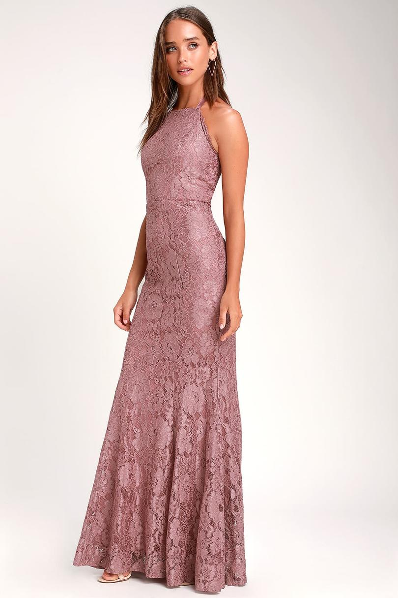 Lulu's Every Memory Lace Halter Maxi Dress