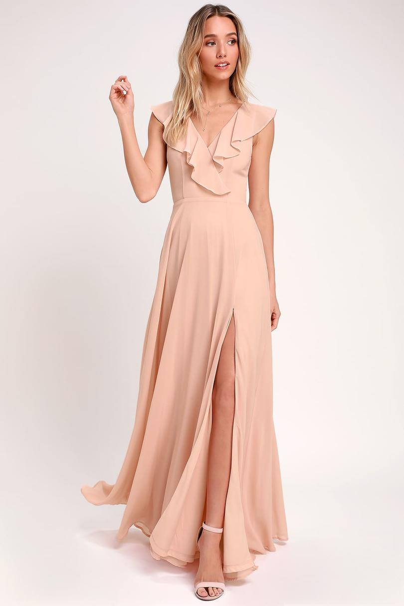 Lulu's Feel the Rush Ruffled Lace-Up Backless Maxi Dress