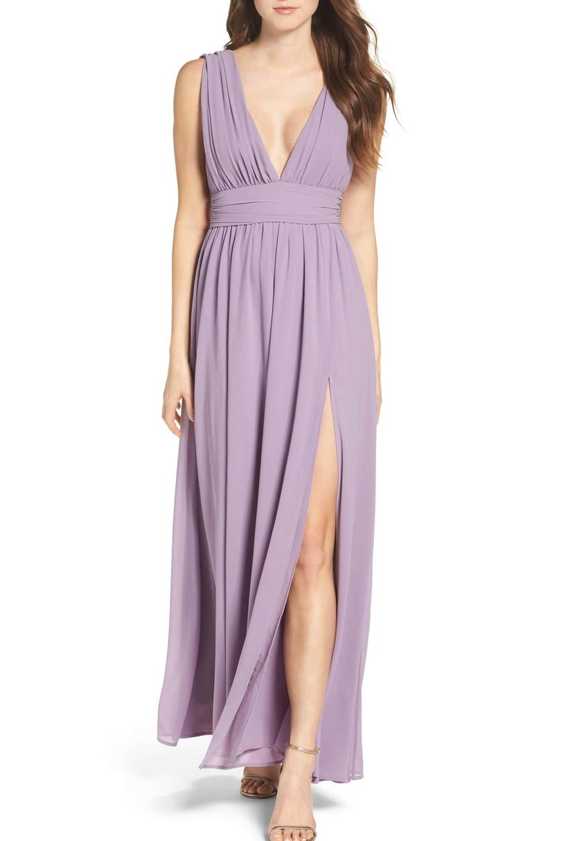 Lulu's Plunging V-Neck Chiffon Gown