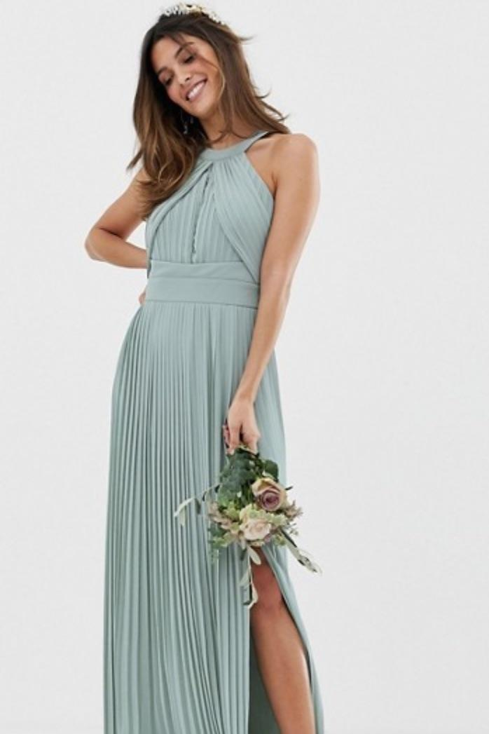 TFNC Bridesmaid Exclusive Pleated Maxi Dress