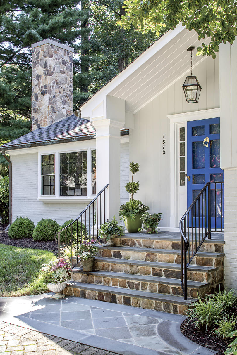Dana Gibson Colorful Richmond Home Front Exterior with Blue Door