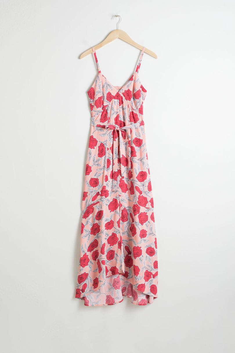 Belted Midi Dress in Rose Print