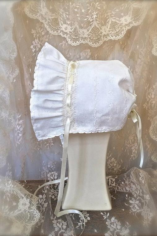 Bonnet with Decorative Stitching, Satin Ribbon, and Lace