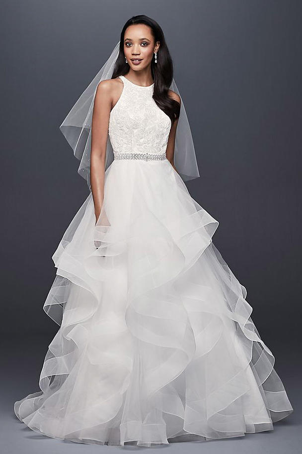 Floral Sequin Ball Gown with Horsehair Trim