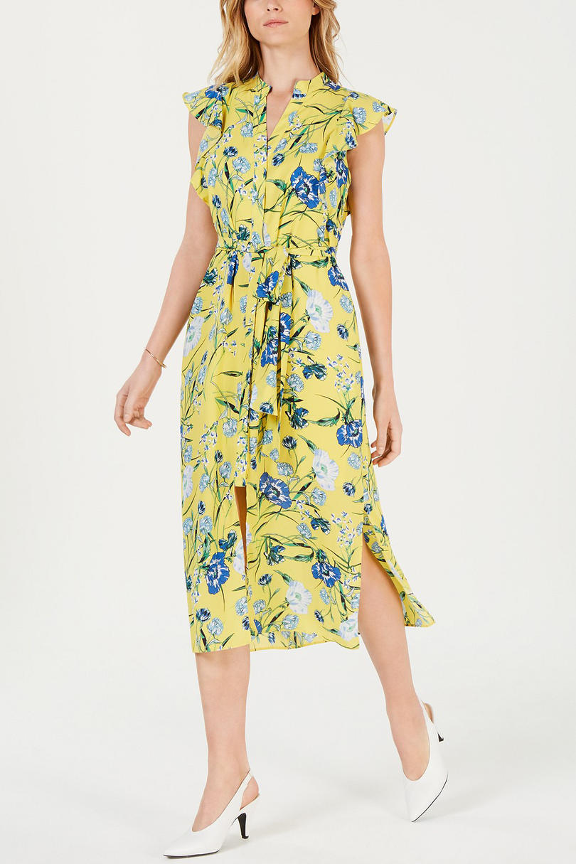 Maison Jules Printed Flutter-Sleeve Midi Dress