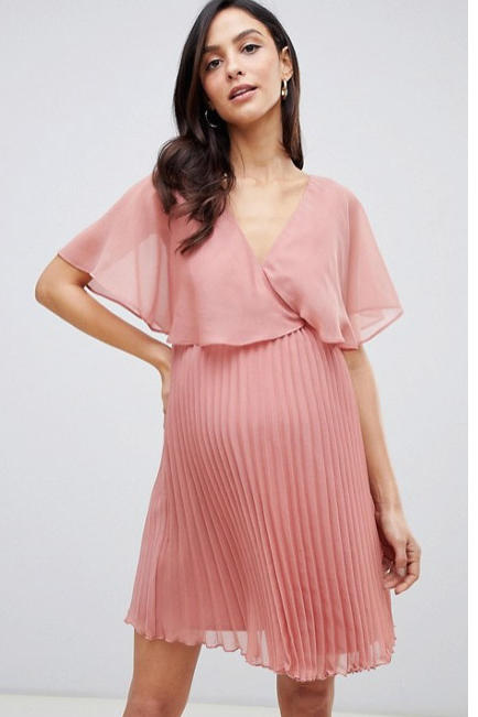 Maternity Flutter Sleeve Mini Dress with Pleat Skirt