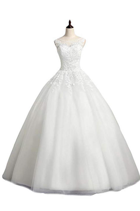 RX_1902 Ball Gown Wedding Dresses_Scoop Neck Lace Ball Gown