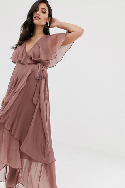 Maternity Maxi Dress with Cape Back and Dipped Hem