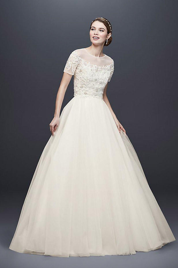 Short Sleeve Tulle Ball Gown