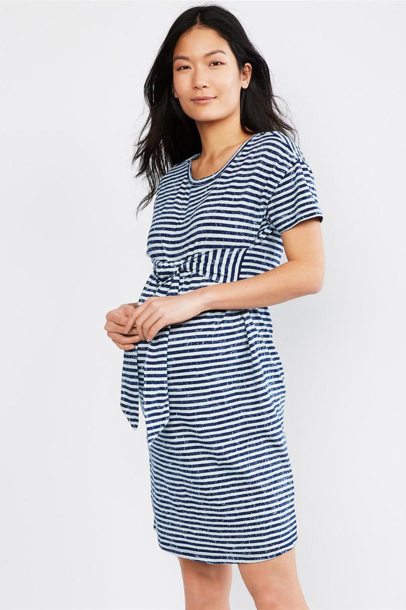 Striped Tie Front Maternity Dress