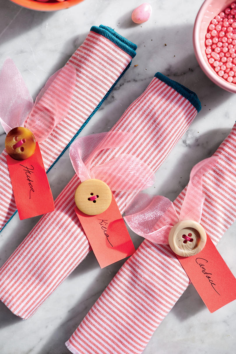 Pink Napkin Roll with Button Napkin Ring