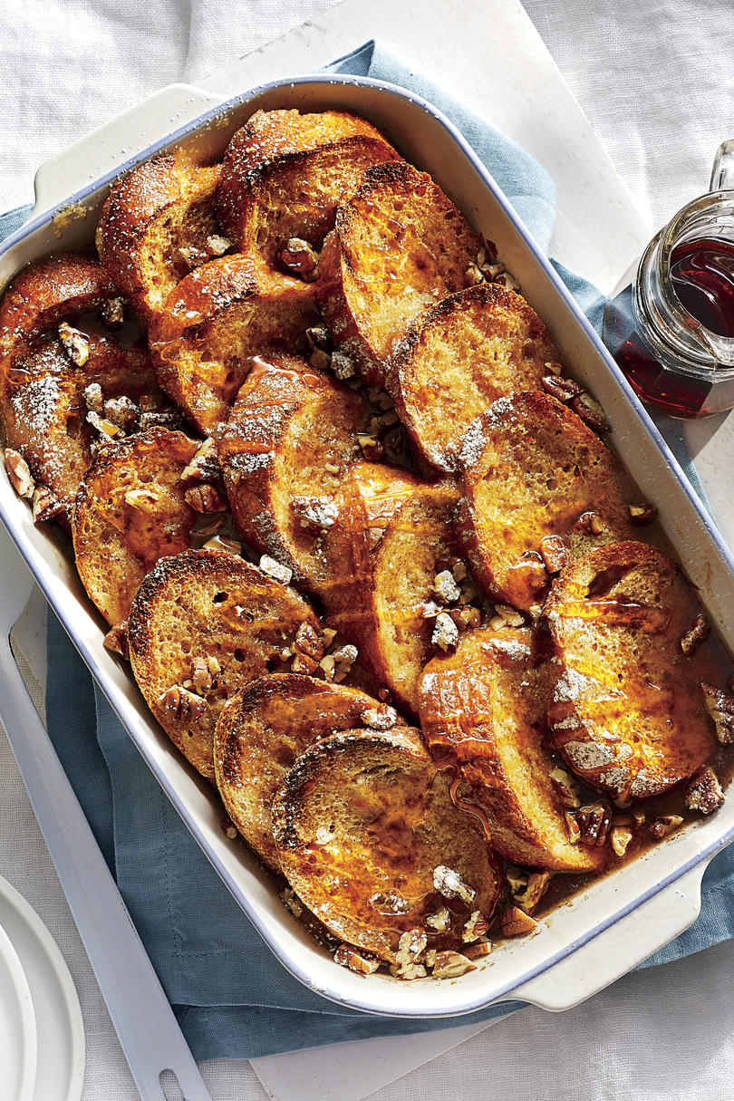 Orange-Vanilla French Toast Casserole with Bourbon-Maple Syrup