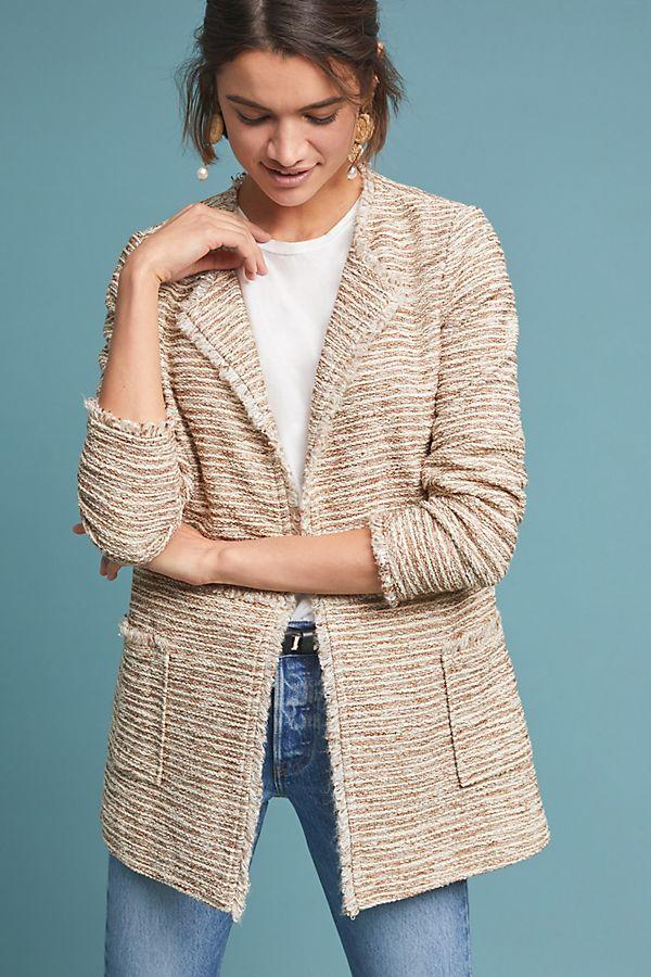 Anthropologie Tweed Longline Jacket