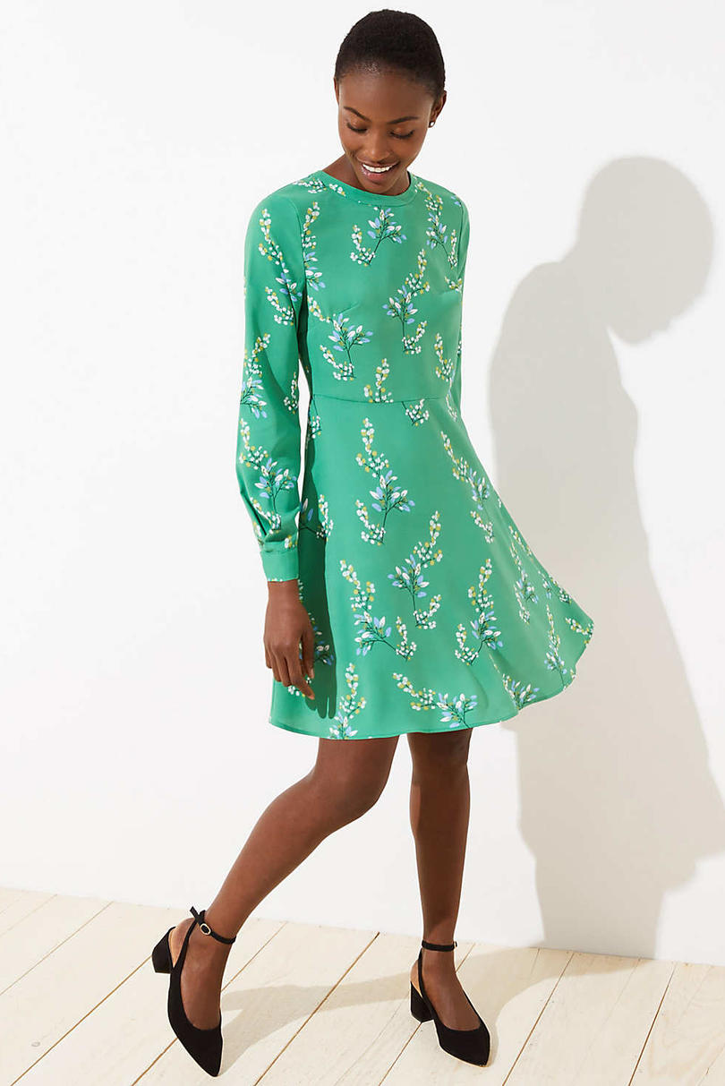 Loft Flower Branch Flare Shirtdress