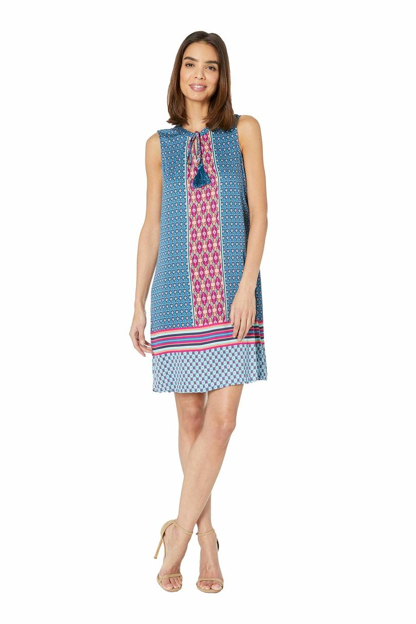Tribal Printed Stretch Challis Sleeveless V-Neck Dress