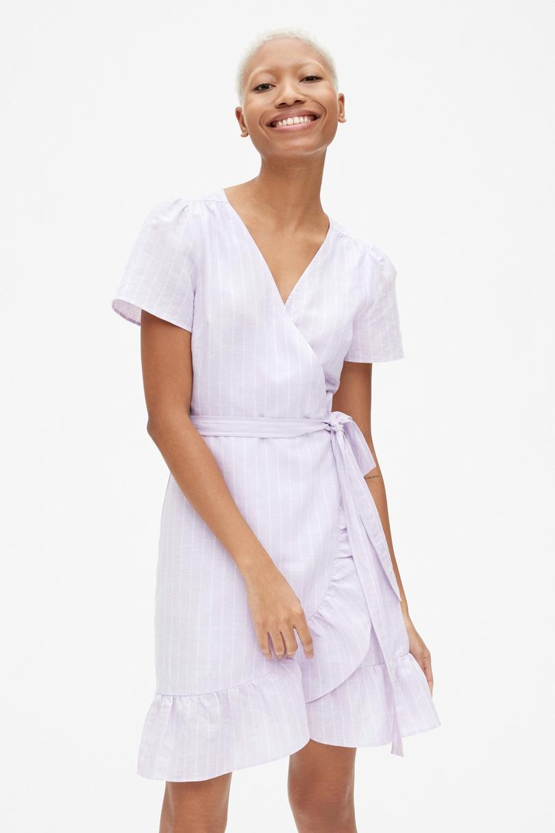 Gap Short Sleeve Stripe Ruffle Wrap Dress in Linen-Cotton
