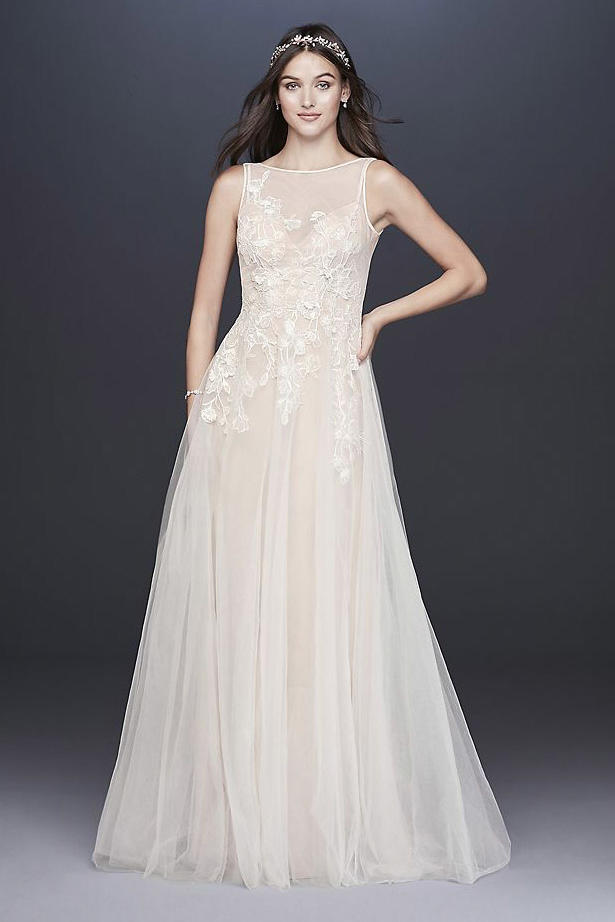 Embroidered Floral Tulle A-Line Wedding Dress