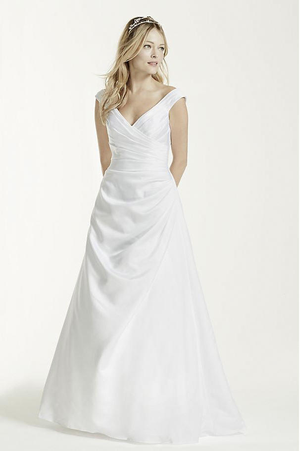 Off-the-shoulder Wedding Dress with Side Draping