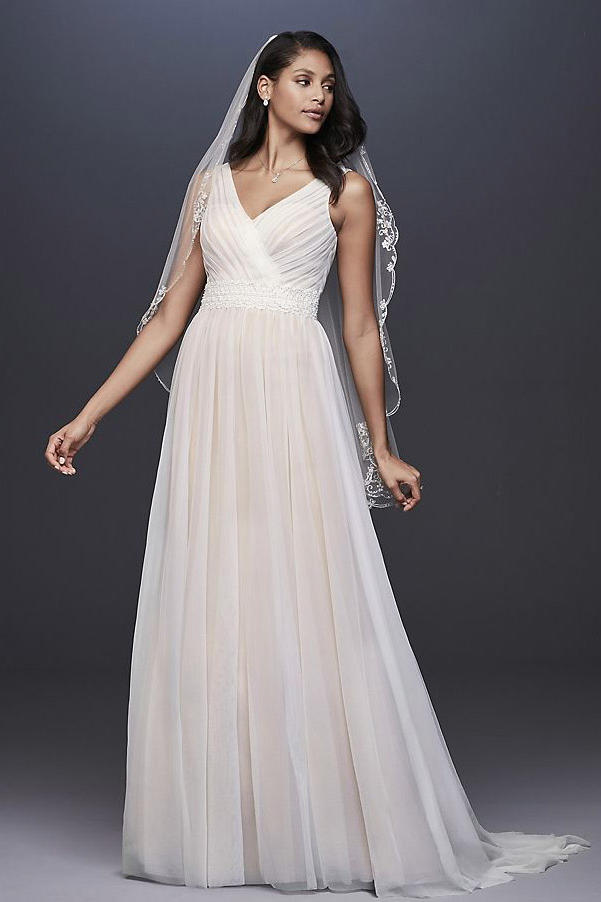 1c9c1204fe2 Pleated Tulle Tank Wedding Dress with Lace Waist