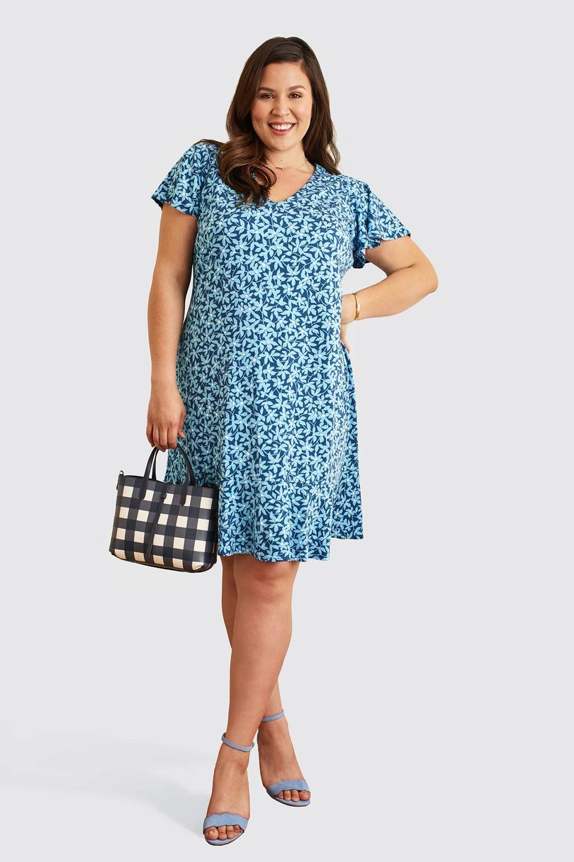 Draper James V-Neck Flutter Sleeve Dress