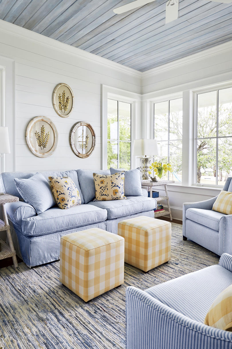 Blue and Yellow Living Room in Florida Cracker Style Home