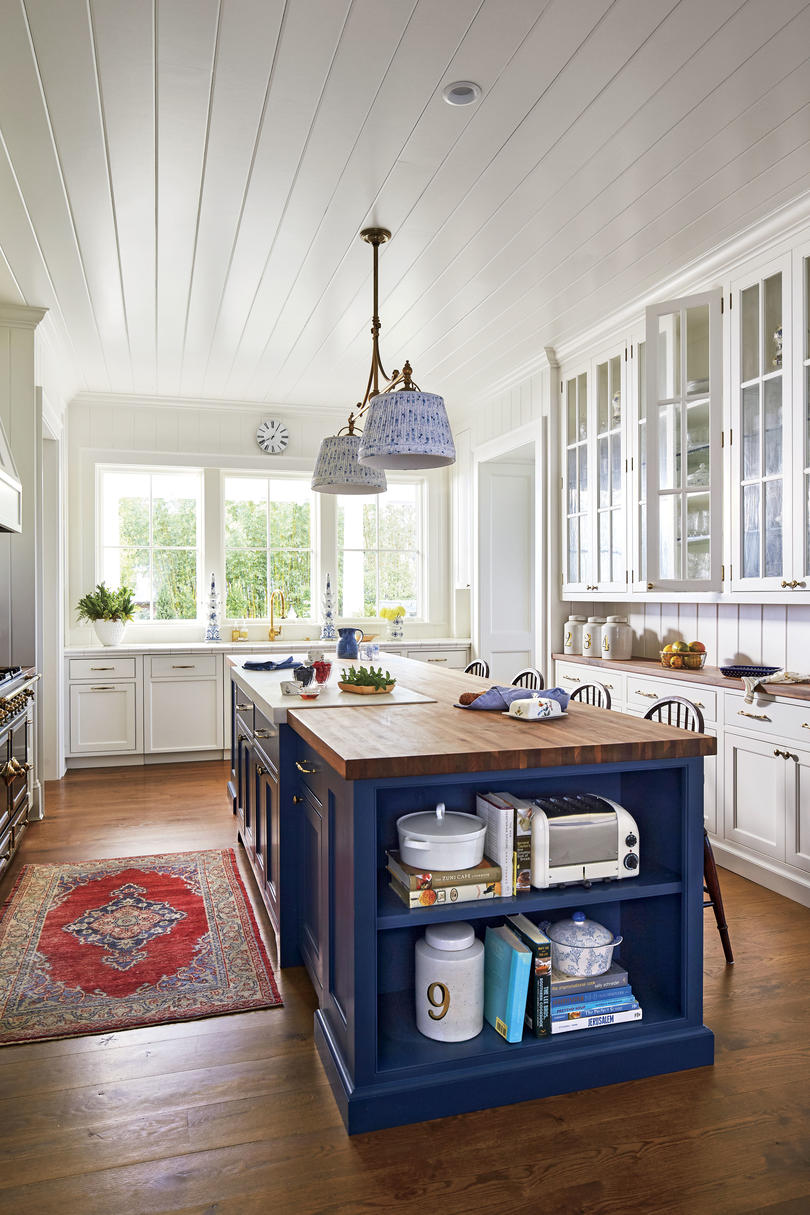 Florida Cracker Style Home Blue and White Kitchen in New Old House