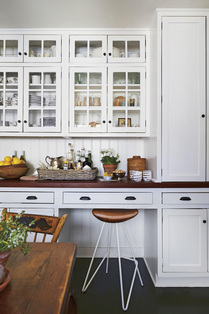 Hanna Seabrook White Kitchen with Wooden Countertops in Louisville, Kentucky