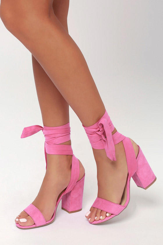 Alta Orchid Suede Lace-Up Heels