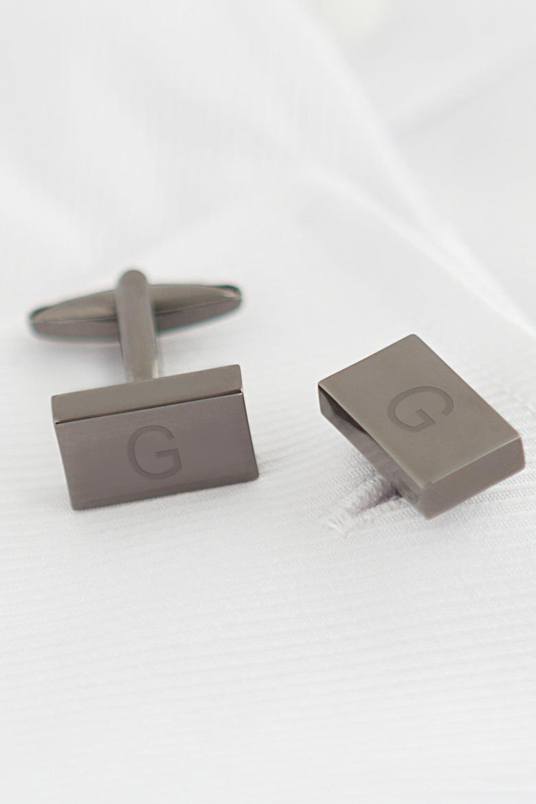 Cathy's Concepts Grey Rectangular Cuff Links