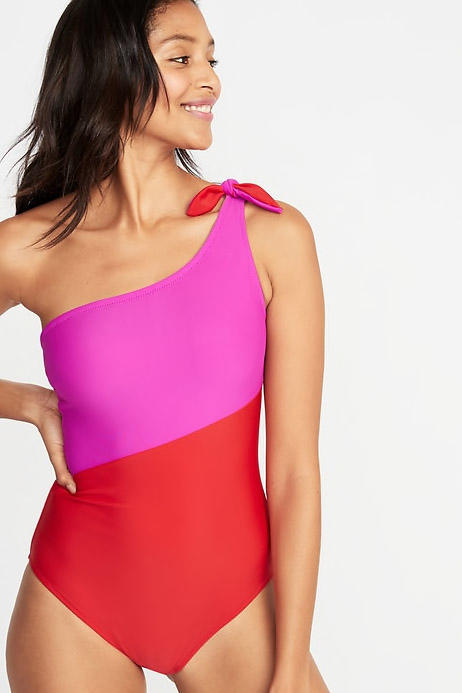One-Shoulder Color-Block Swimsuit