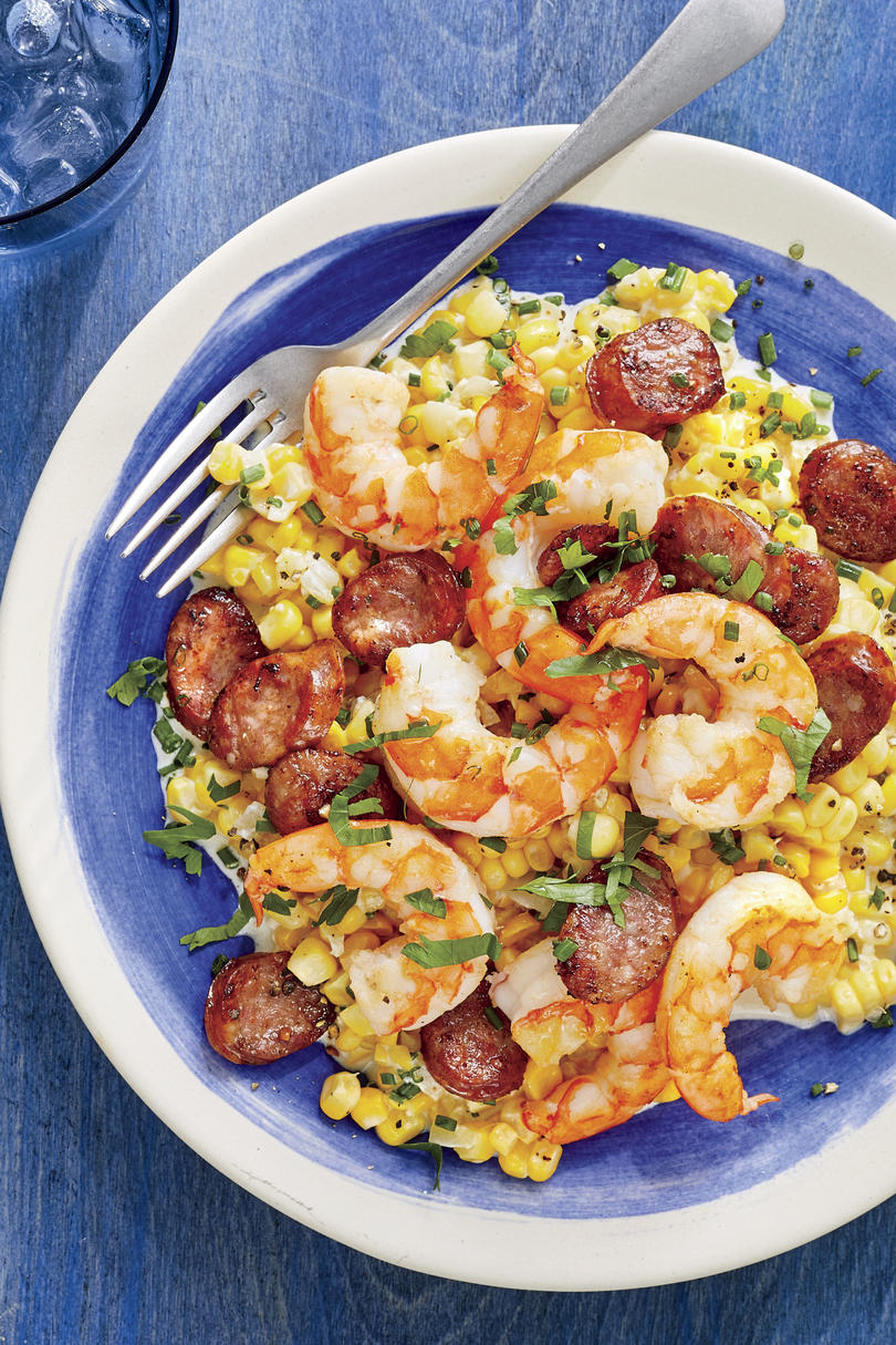 Skillet Corn with Shrimp and Sausage