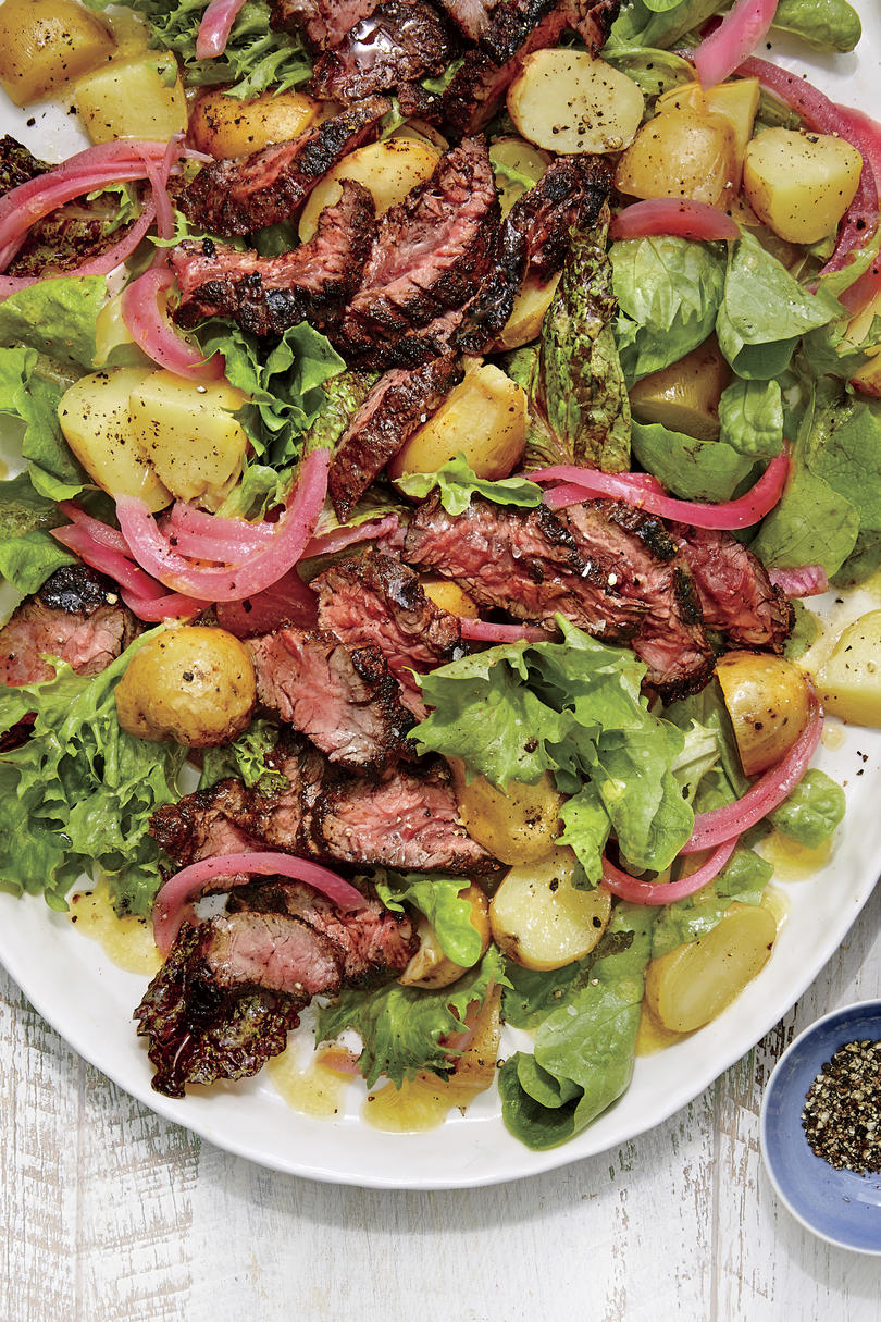 Grilled Steak Salad with Potatoes and Pickled Red Onion