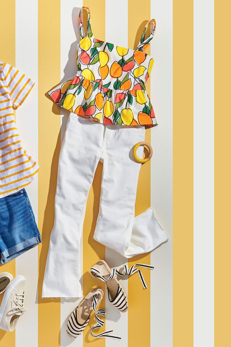 Soludos Classic Striped Sandals with White Jeans and Citrus Top