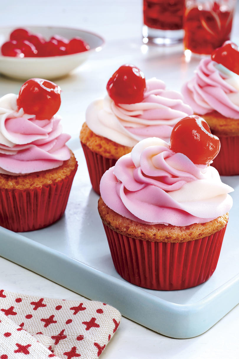 RX_1908_August 2019 Recipes_Cheerwine Cherry Cupcakes with Cherry-Swirl Frosting