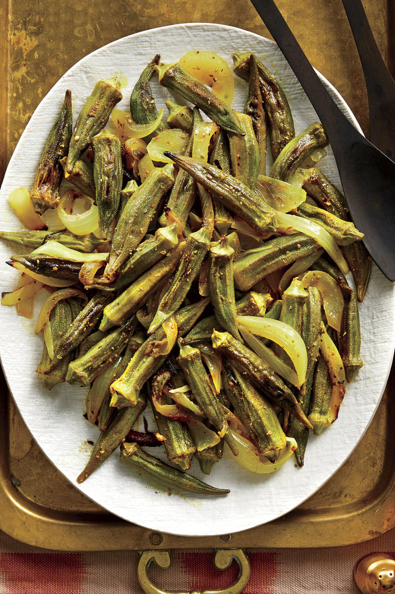Pan-Roasted Okra and Sweet Onions with Lemony Masala