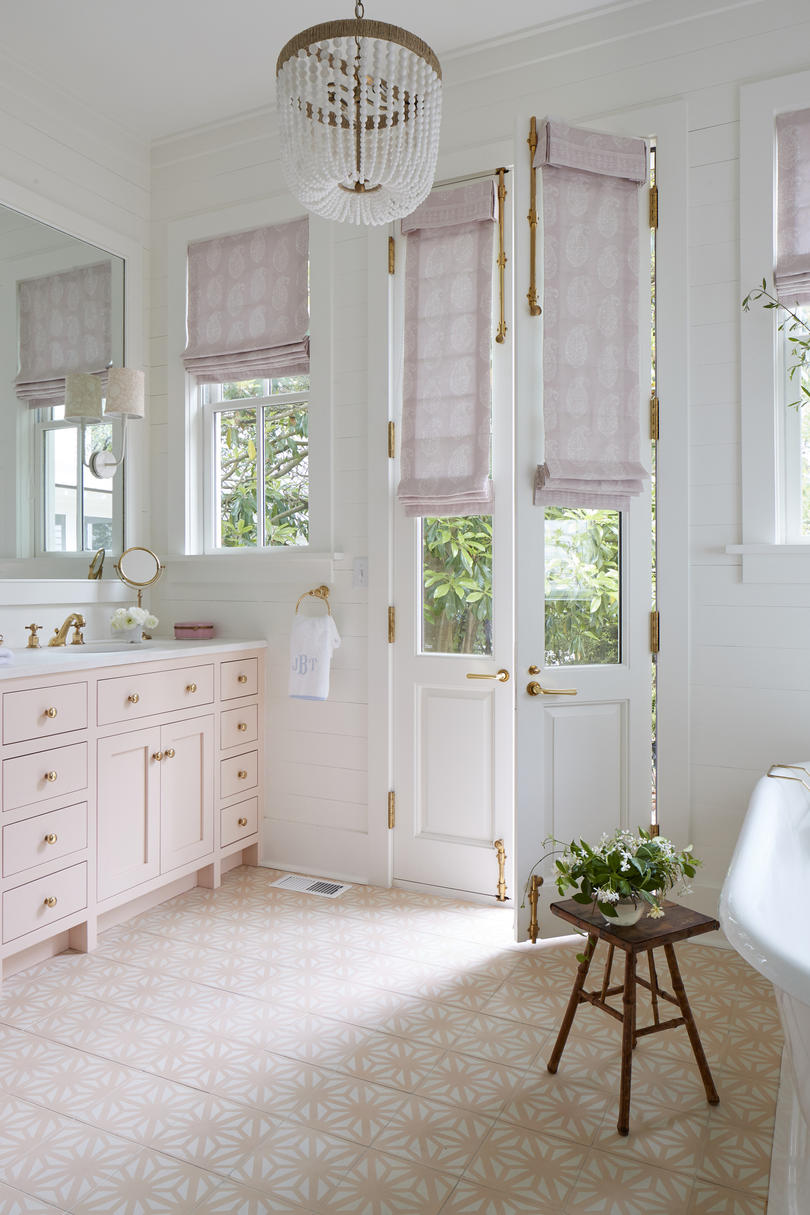 Julia Engel of Gal Meets Glam Charleston, SC Home Pink and White Master Bathroom