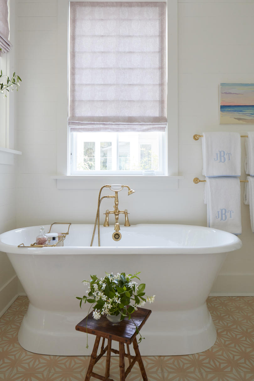 Julia Engel of Gal Meets Glam House in Charleston, SC Master Bathroom Freestanding Tub