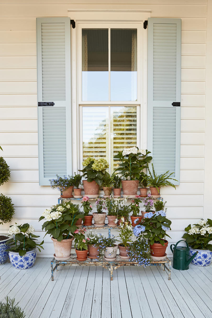 Julia Engel of Gal Meets Glam Charleston Home Front Porch Flower Pots